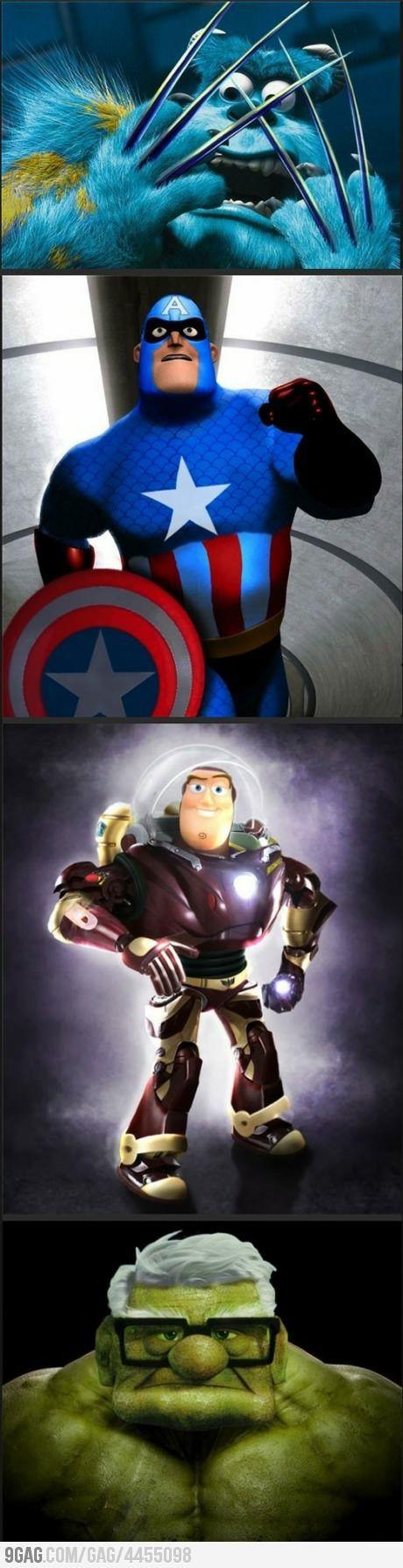 Pixar vs. Marvel: Pixar Marvel, Disney Marvel, Disney Pixar, Super Heroes, Disney Avengers, Disney Character, The Avengers, Marvel Heroes, Superhero