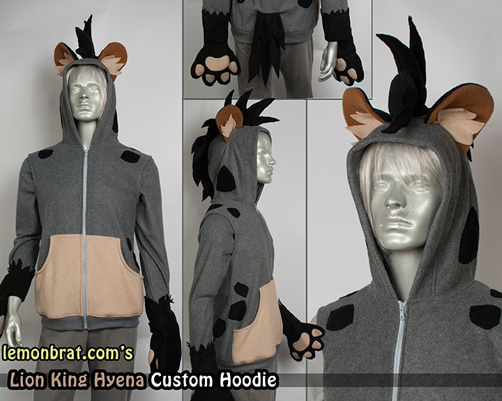 This Hyena hoodie features a crazy large mohawk between a pair big round ears with inlaid fleece tufts. The paw sleeves feature a tufted edge around the paws and each spot on the back and sid...