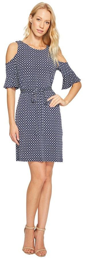 Donna Morgan 3/4 Bell Sleeve Cold Shoulder A-Line Dress
