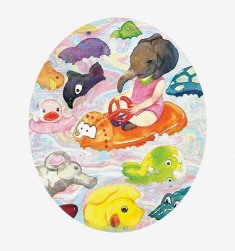 be swept, Float – artist ATEM elephant, duck, driving, oil, glacier, yellow, sea, dolphin, dress, crocodile, water
