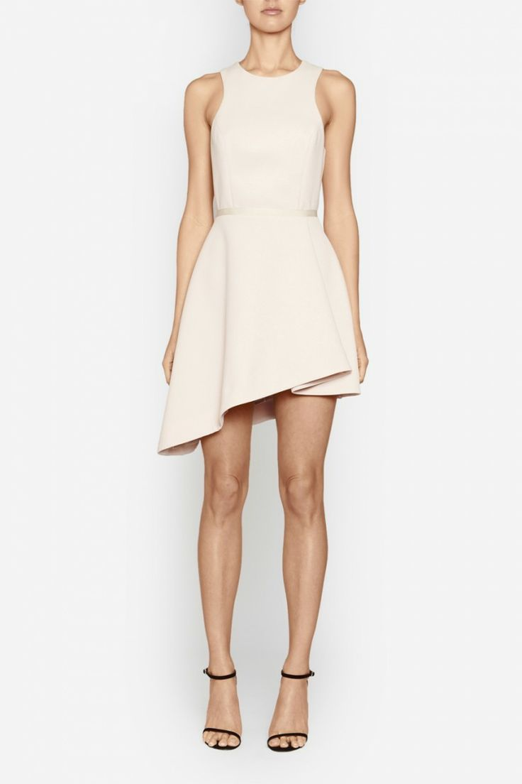 Camilla and Marc | DISTINGUISH DRESS  US$539.08 Feminine cocktail dress designed in a dusty pink waffle fabric with a textured grosgrain waistband. This elegant piece features a fitted bodice which is balanced by a full skirt with an asymmetrical hemline. Includes lining and an invisible zipper fastening at the centre back.