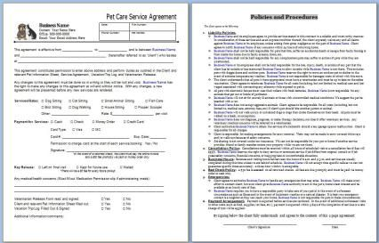 Start Your Own Small Business With Professional Business Forms And Support - Pet Sitting Service Agreement Contract