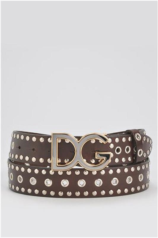 Dolce & Gabbana Studded Genuine Leather Belt - Enviius