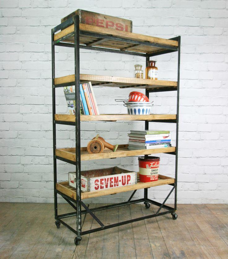 vintage industrial shoe trolley rack shelving shelf loft factory shop retail - Industrial Vintage Wohnhaus Loft Stil