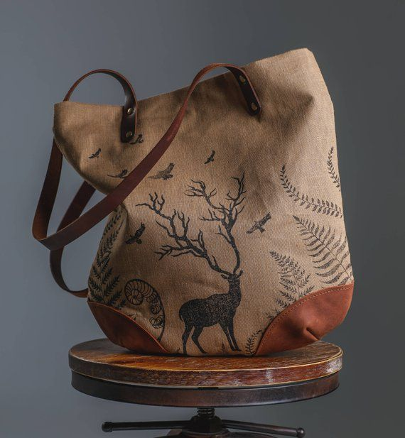 61f9c27fd3cd Beige Block Print Linen Tote Bag, Deer Fern Crow Forest Printed, Leather  Botanical Handbag