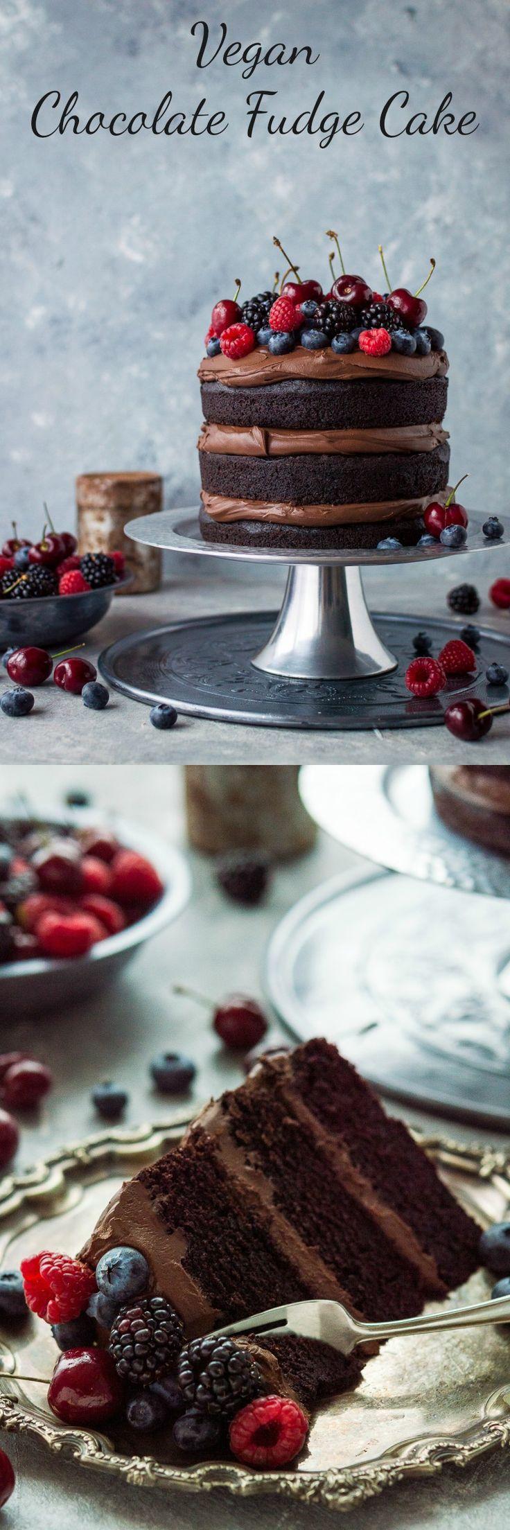 Vegan chocolate fudge cake - an easy to make, moist, fudgy vegan chocolate cake topped with coconut milk ganache. No one will be able to guess that it's vegan! #vegan #baking #chocolatecake