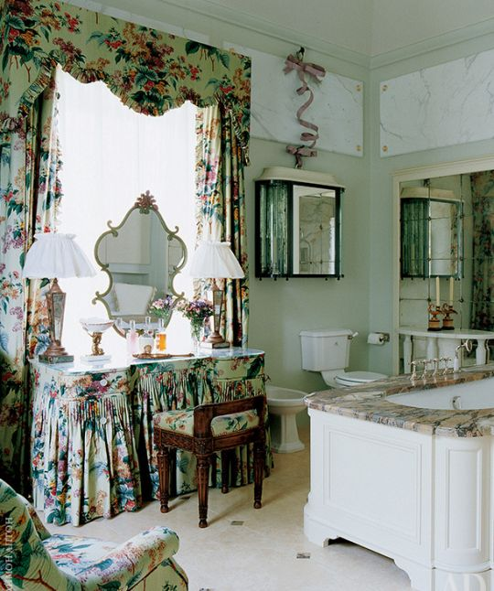 Dressing table and pleated draperies, chintz