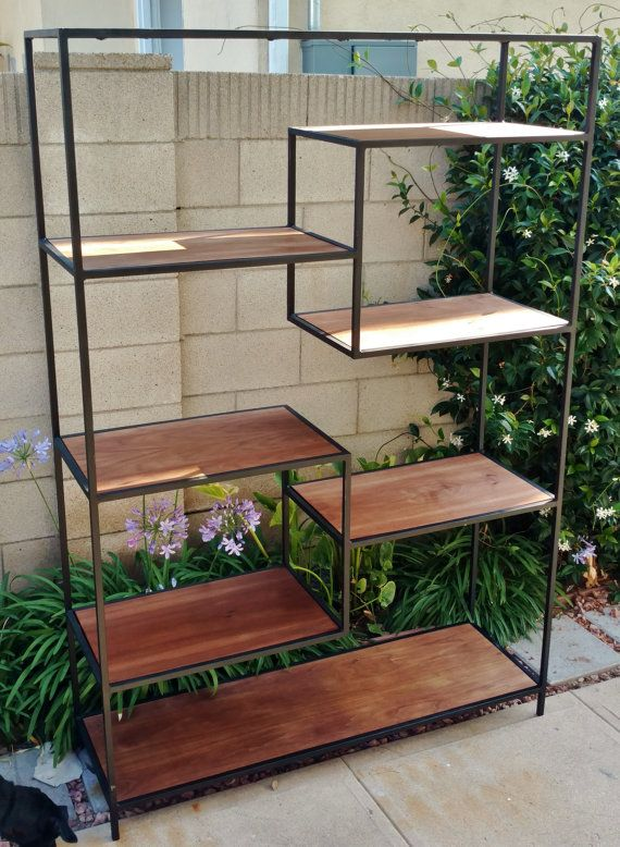 Tall Mid Century Modern Metal Modular Bookshelf with floating shelves, shelving unit, bookcase, records shelf matte black, custom, walnut