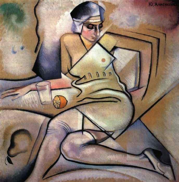 """Portrait of EB Annenkova, the Artist's Wife, 1917,  Yuri Pavlovich Annenkov. Russian, known as """"Georges Annenkov"""" (1889-1974)"""