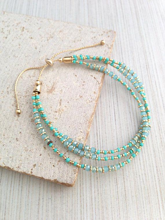 Boho Bracelet,Beaded Bracelet,Tribal Bracelet,Multi Strap Bracelet,Beaded Layered Bracelet,Turquoise Beaded Bracelet,Tiny Beaded Braceelet – Aqua/Gold Jewellery  ✨❤️✨