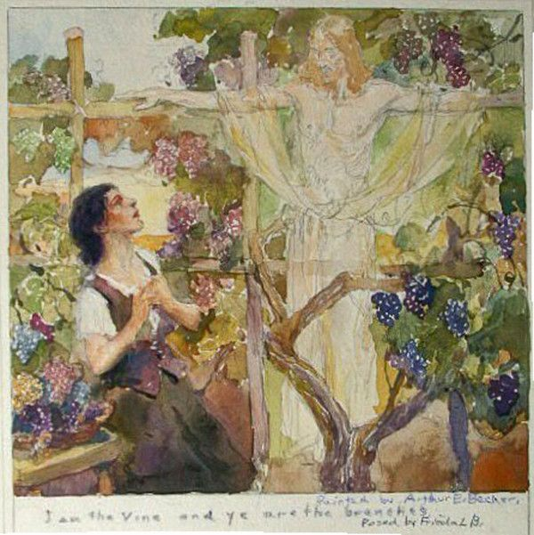 I am the Vine and Ye are the Branches  Arthur Ernst Becher  Watercolor, gouache, and pencil  16.5 x 17.5 cm.