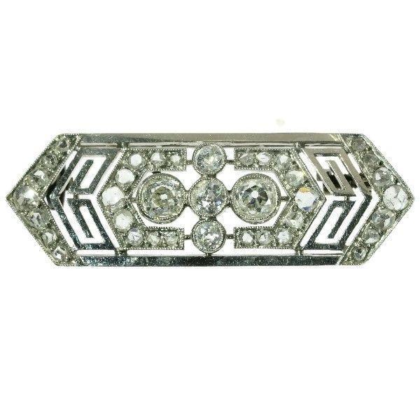 Online veilinghuis Catawiki: Franse, zeshoekige, art deco, platina diamanten broche