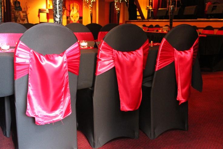 #wedding #weddingreception #sashes #satinsash #red #chaircovers