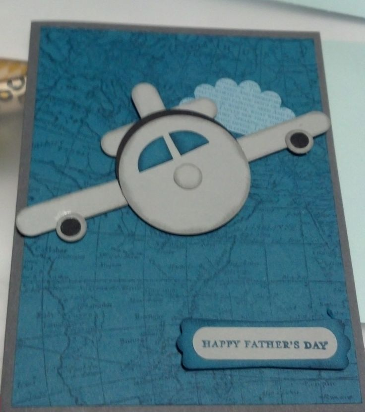 Michael's Father's Day Card 2014. Stampin' Up! World Map background stamp, punch art airplane