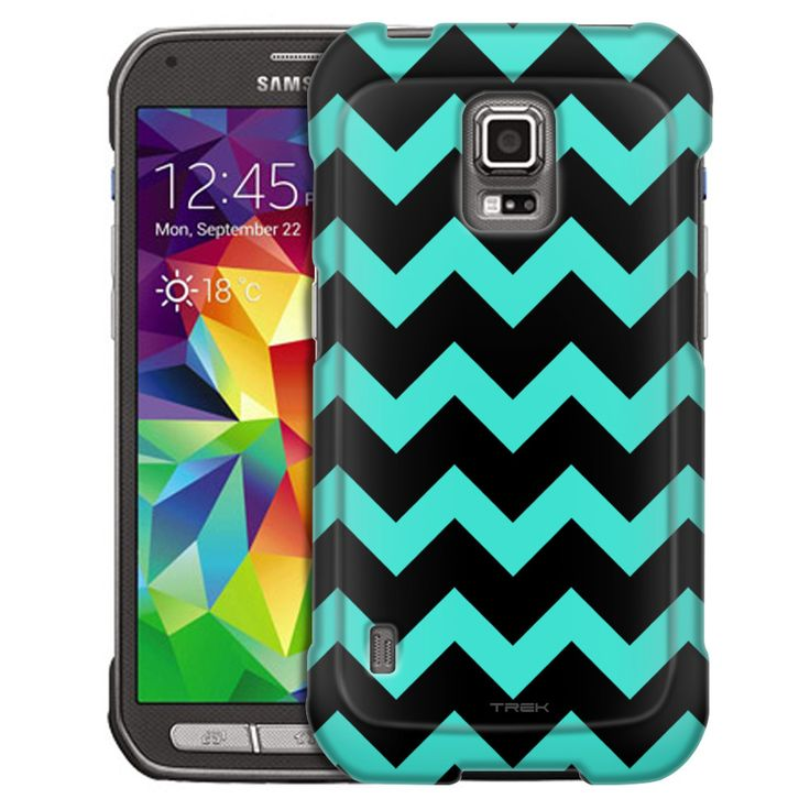 Samsung Galaxy S5 Active Chevron Turquoise Black Slim Case