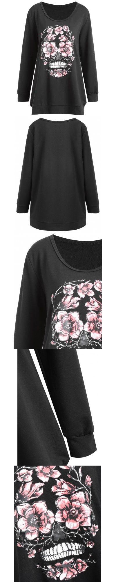 Black Plus Size Halloween Skull Floral Print Sweatshirt 2XL-$22.6