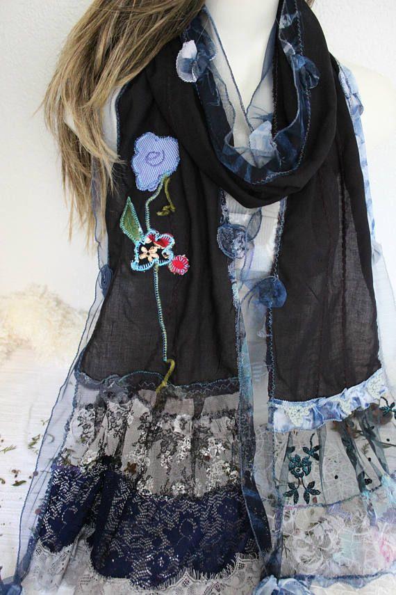 Black cotton scarf Black unique scarf Design Women Shawl