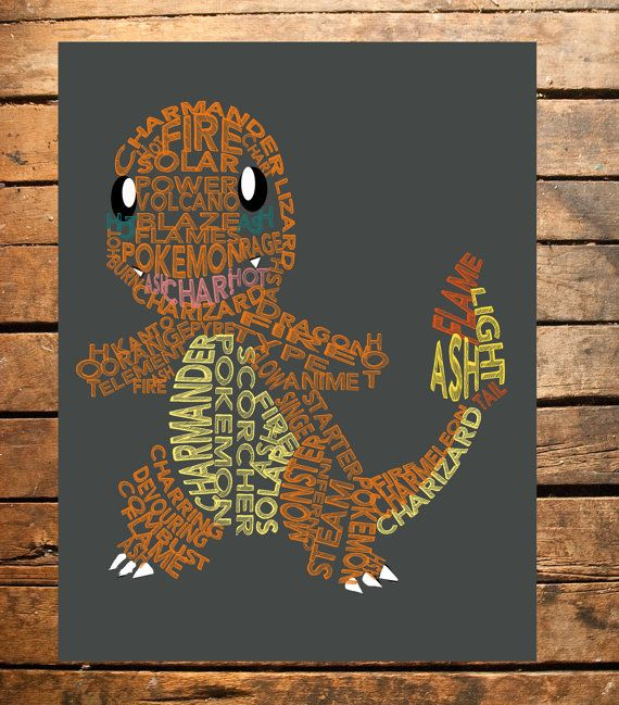$5 This digital print is a typography based upon the popular Pokemon, Charmander. The print would make a perfect addition to the bedroom decor of