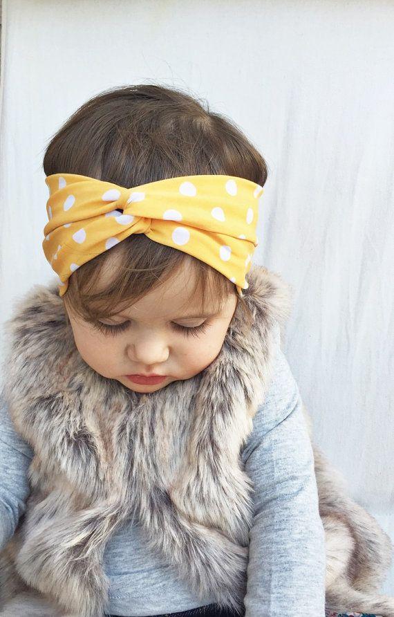 Yellow polka dots turban headband by turbansfortots on Etsy