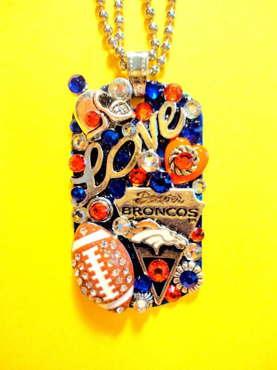 Denver Broncos Dog Tag Pendant Number 1350 by BradosBling on Etsy, $39.99