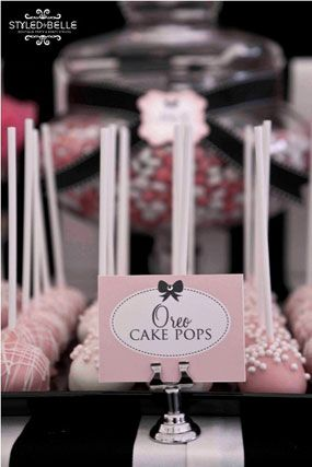 modern elegance pink black and white baby shower birthday party dessert table oreo cake pops *but how about the chanel type label