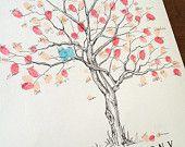 Fingerprint Tree Wedding Guest Book Alternative, Original Hand-drawn Small Cherry Blossom Design (ink pads sold separately)