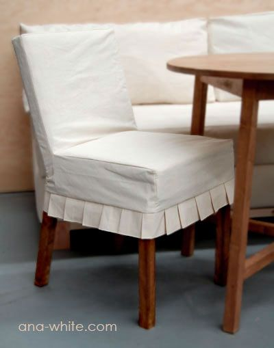 Ana White | Build a Drop Cloth Parson Chair Slipcovers | Free and Easy DIY Project and Furniture Plans.   AND...the slip cover patterns for covering those chairs so I can change it up off an on.