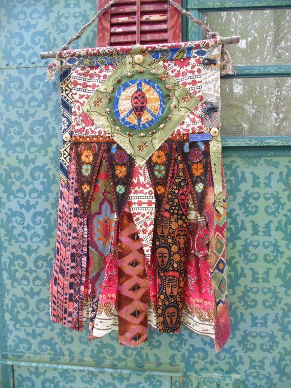 Boho chic prayer flag DIY style wall art by TheSleepyArmadillo