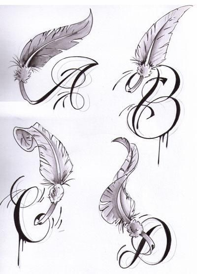 Initial Letters With Wings - Tattoos