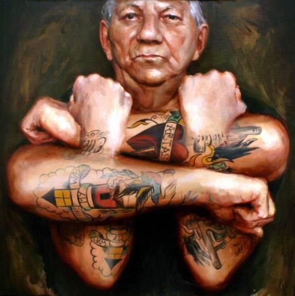 Shawn Barber- oil paintings of people with tattoos.