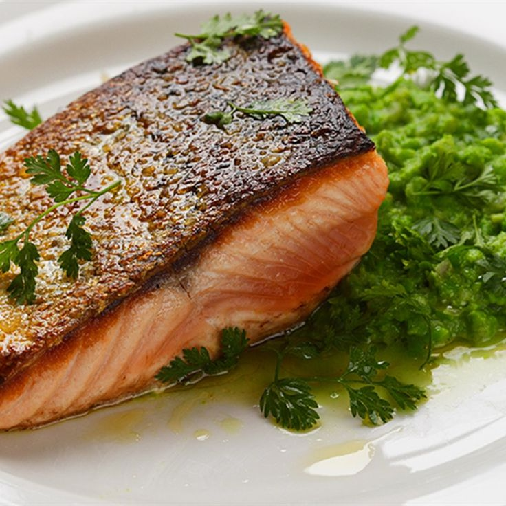 Try this Crispy Skin Salmon with Pea Puree recipe by Chef Maggie Beer.