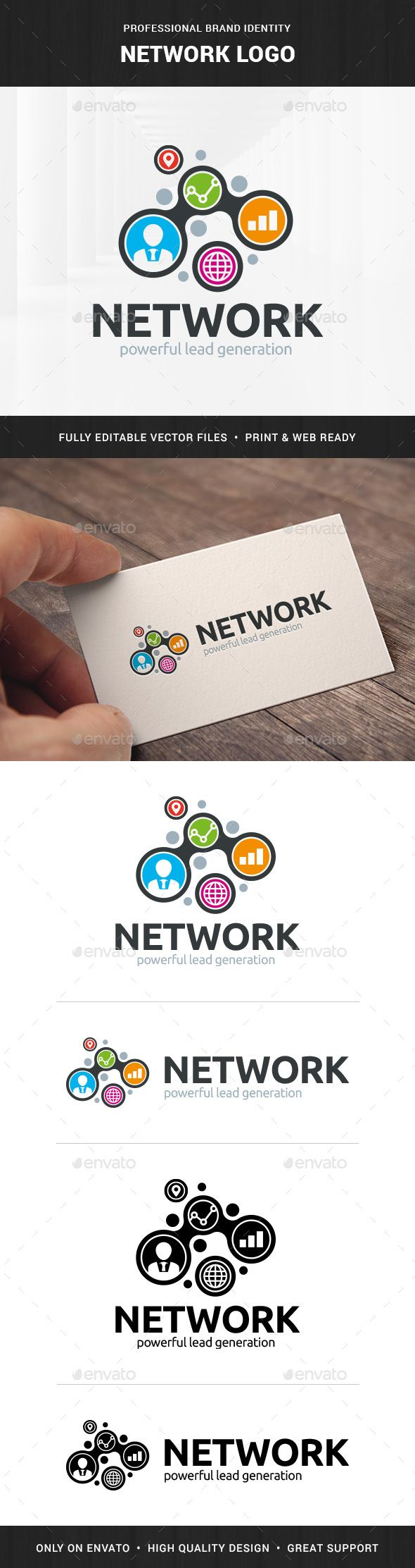 Network Logo Template by LiveAtTheBBQ The Network Logo TemplateA professional logo design for many kinds of network and stats related business. All elements are fully