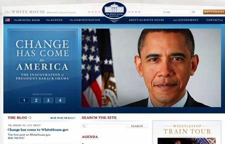 Blog de la Casa Blanca informando de la elección del Presidente Obama.
