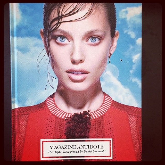 Issue 9 of Antidote Magazine is The Digital Issue, viewed by Daniel Sannwald photographing beauties; Liu Wen, Sasha Luss, Emily DiDonato, Gigi Hadid, alongside male models Myles Crosby, Sean O'Pry whom all poses sporting wet hair look and colorful attire with a cloud blue sky backdrop. Styled by Yann Weber.
