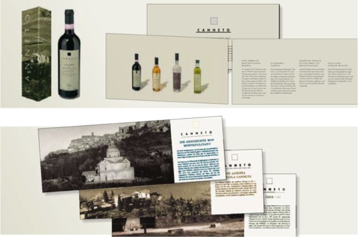 Winery: dai brand strategy & design developed the brand strategy and corporate identity for the Azienda Agricola Canneto, a manor in Italy which cultivates wine and olives to create Vino Nobile di Montepulciano and Olio di Oliva Vergine. The colors and moods of Toscana served as an inspiration for the identity, based on earthy colors. On the website the Tuscan atmosphere is acoustically captured thanks to the chirping of crickets and the barking of dogs. Recognized by several awards.