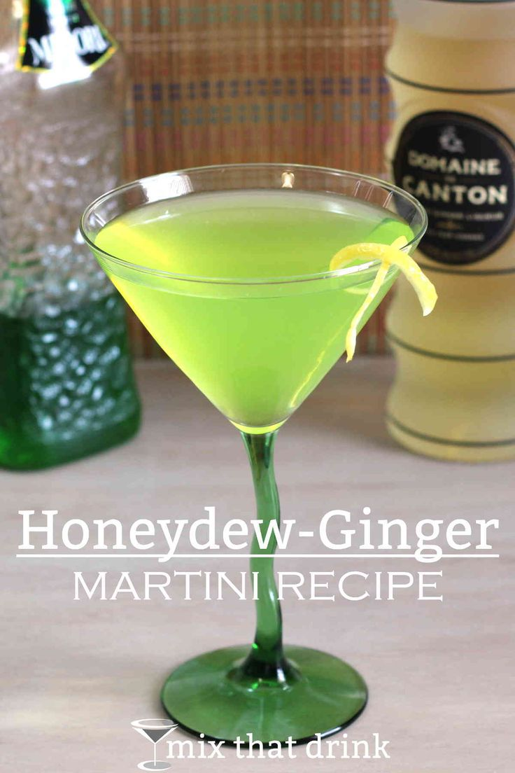The Honeydew-Ginger Martini uses Midori and Domaine De Canton Ginger Liqueur for the cocktail's main flavors of honeydew and ginger. Lemon juice and Angostura bitters givethis drink recipe a little bit of spice.