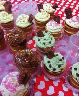 Ice cream cone cupcakes. Chocolate, vanilla, strawberry and mint choc chip