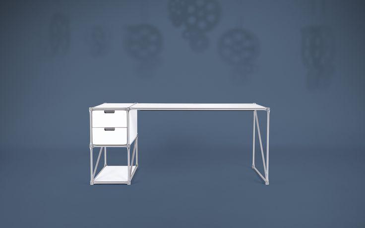 Der Design DeskTop mit Container für das Home Office und Büro ergänzt die Einrichtung. Das modulare System ermöglicht individuelle Planungen für den perfekten Schreibtisch.