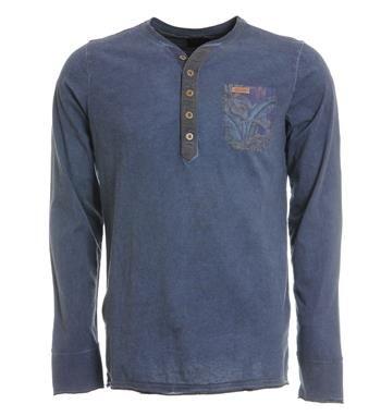 PME Legend granddad t-shirt. Deze longsleeve heeft een borstzakje met een all over print - Navy - NummerZestien.eu