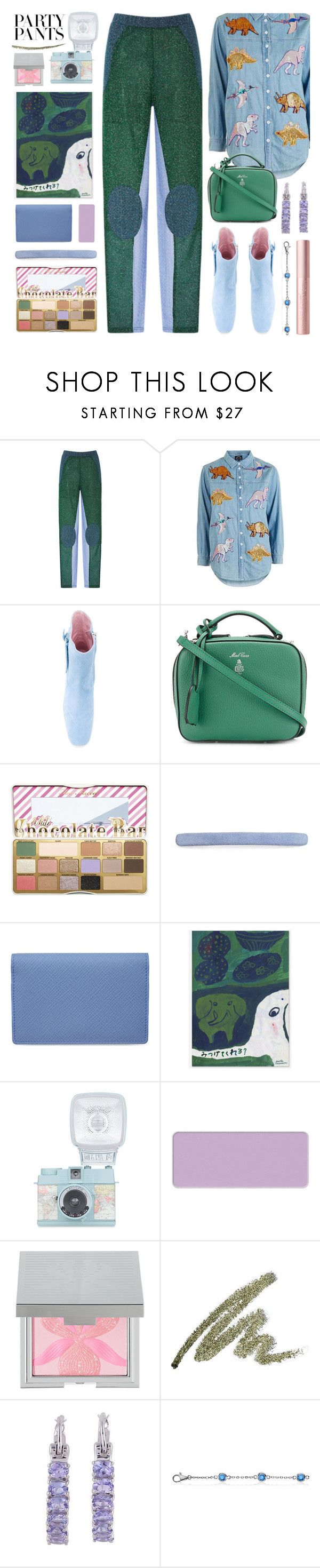 """#PolyPresents: Fancy Pants"" by foundlostme ❤ liked on Polyvore featuring Carven, Topshop, Dorateymur, Mark Cross, Too Faced Cosmetics, L. Erickson, Smythson, shu uemura, Sisley and NOVICA"
