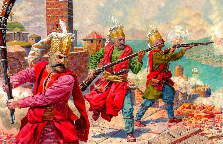 Turkish Jannisaries in battle