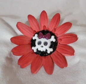 Pet Collar Accessory  Pink Flower With Skull by TheTickleTrunks, $6.00