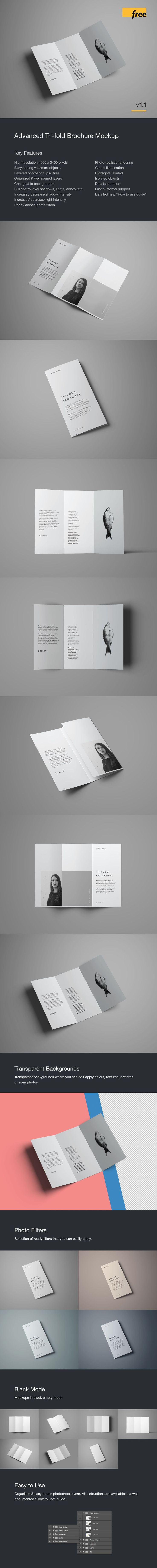 Advanced Trifold Brochure Mockup An advanced premium trifold brochure mockup in a standard size of a folded A4. The mockup has 7 different angles a...