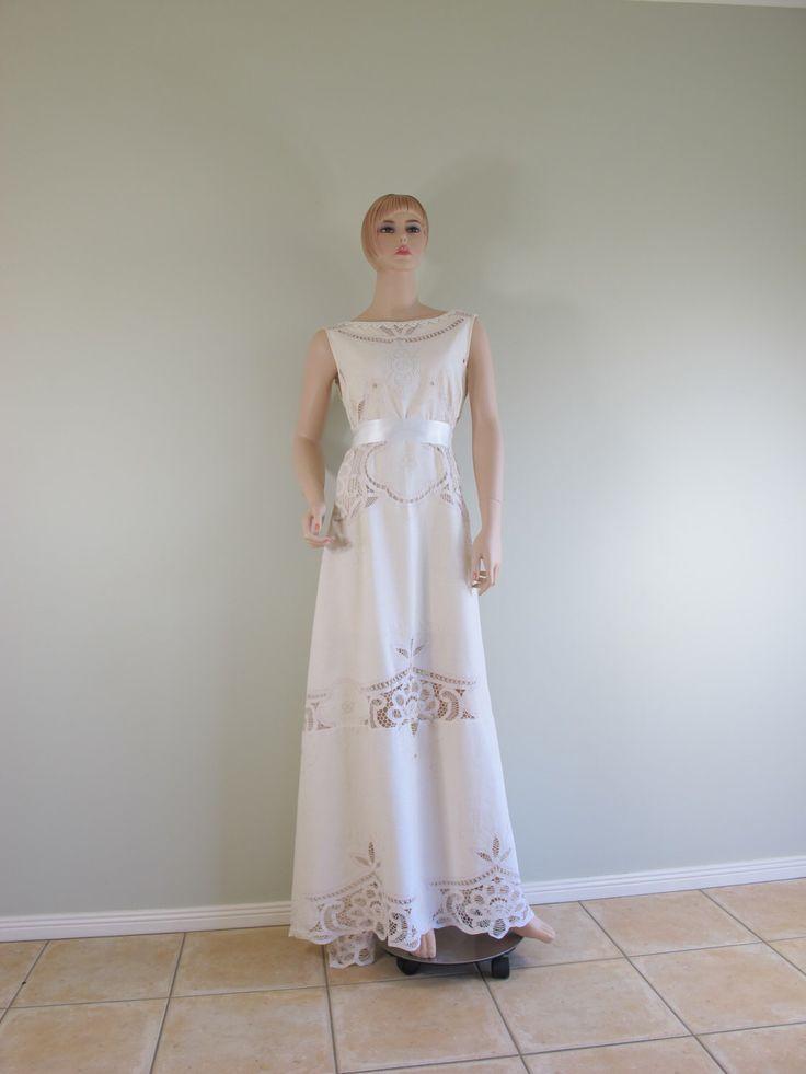 OOAK 'Elithe'  Antique Battenburg Lace Bohemian Embroidery Cotton Wedding Dress by girlonaponyvintage on Etsy https://www.etsy.com/listing/246010601/ooak-elithe-antique-battenburg-lace