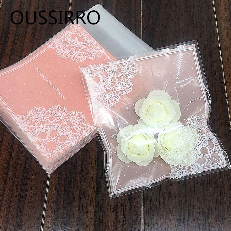 25 Pçs/lote Lindo Laço Cor de Rosa Sacos de Presentes de Natal Biscoito Embalagem Sacos de Plástico Auto-adesivo de Jóias Pacote de Bolo de Biscoitos Doces