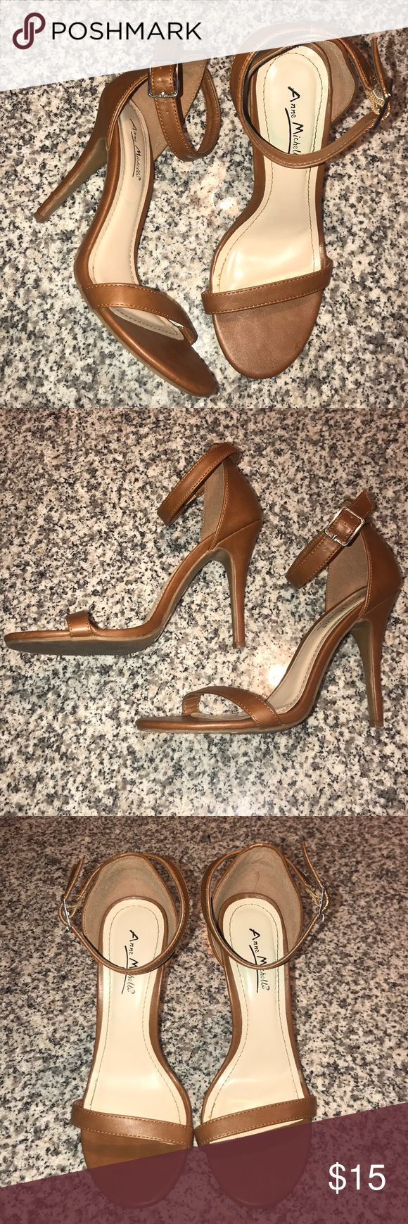 Brown strappy heels size 8 Very cute/ sexy! True to size and literally only worn once! Shoes Heels