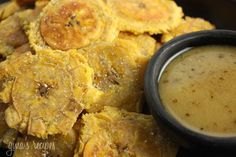Tostones are plantain chips that are usually deep fried twice! Mine are made lighter by baking them in the oven.
