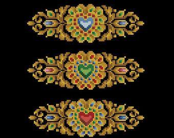 Vintage berlin woolwork cross stitch pattern Brooch with a heart Digital Format - PDF