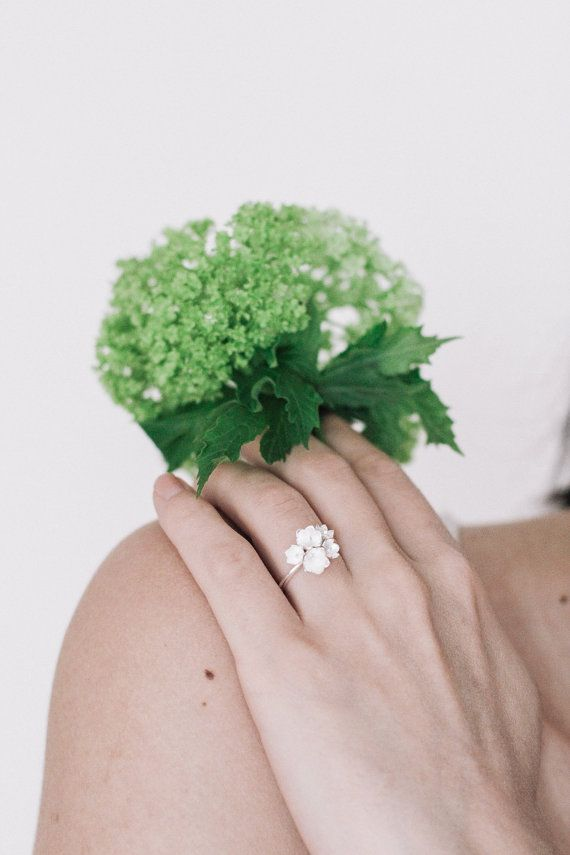 Lily of the valley flowers ring in sterling silver  by TheManerovs