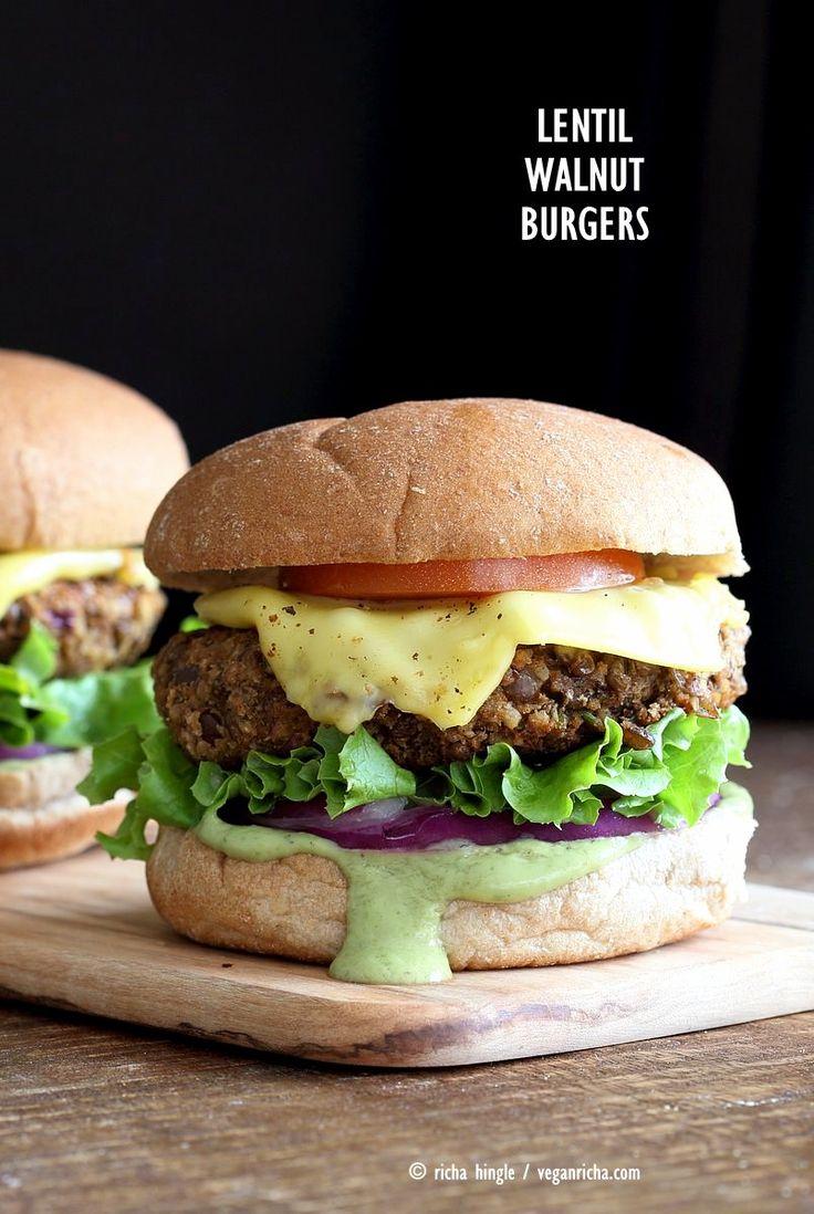 Spiced Lentil Walnut Burgers. Easy Flavorful Burger patties with avocado ranch. Vegan Burger Recipe. Soyfree Easily gluten-free   VeganRicha.com